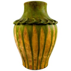 Kähler, Denmark, Glazed Stoneware Vase, 1920 S. Green and Yellow Glaze