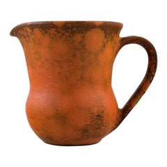 Kähler, Denmark, Jug in Glazed Stoneware, Beautiful Orange Uranium Glaze