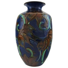 Kähler, Denmark, Large Glazed Stoneware Vase in Modern Design, 1930s-1940s