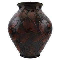 Kähler, Denmark, Large Vase in Glazed Ceramics, Maroon Leaves on Blue Base
