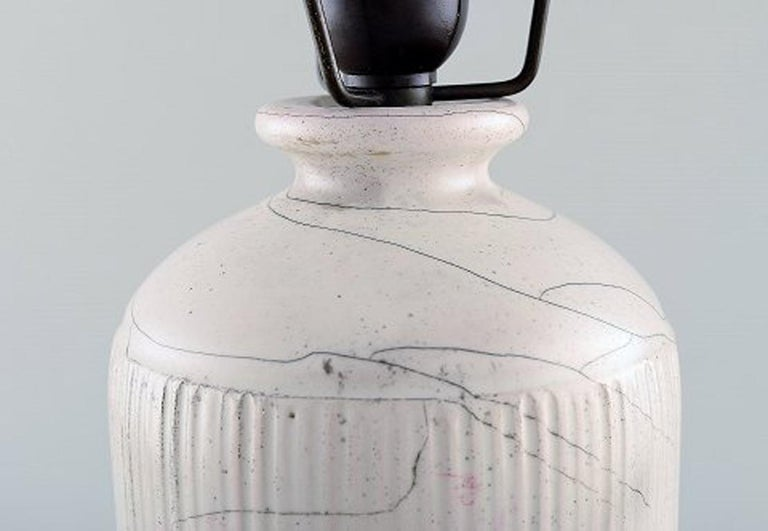 Kähler, Denmark, Table Lamp in Glazed Stoneware, 1930s by Svend Hammershoi In Good Condition For Sale In Copenhagen, Denmark