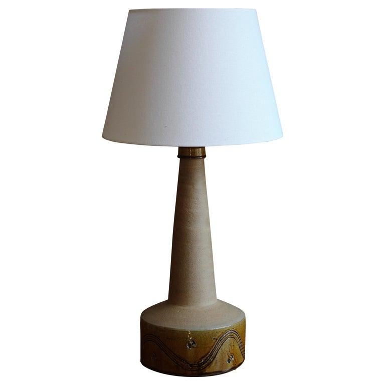 Kähler, Large Table Lamp, Semi-Glazed Stoneware, Denmark, 1930s For Sale