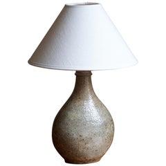Kähler, Table Lamp, Glazed Stoneware, Linen, Denmark, 1930s