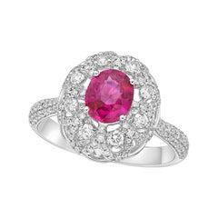 Kahn 1.07 Carat Purple- Pink Sapphire 18k White Gold Ring