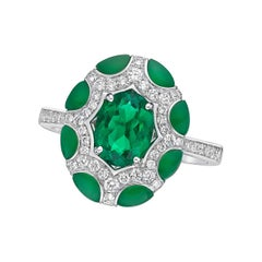 Kahn 1.11 Carat Colombia Emerald 18k White Gold Ring