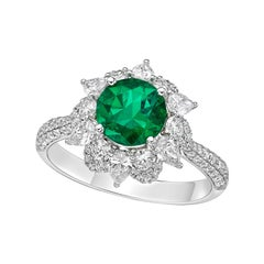 Kahn 1.3 Carat Coloumbia Emerald 18k White Gold Ring