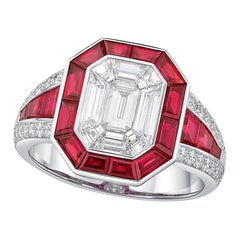 Kahn 18 Karat Illusion White Diamond Ring with Ruby Halo