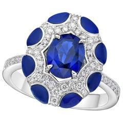 Kahn 1.84 Carat Blue Sapphire Ring in 18k gold