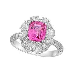 Kahn 2.06 Carat Unheat Pink Sapphire 18k White Gold Ring
