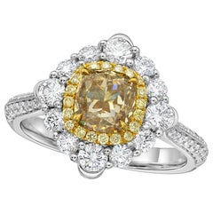 KAHN GIA Certified 1.25 Carat Light Brown Diamond Ring