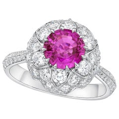Kahn GIA Certified 1.5 Carat Unheated Purple, Pink Sapphire Ring