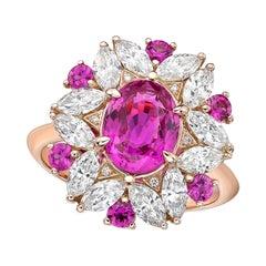 Kahn GIA Certified 2.21 Carat Pink Sapphire Ring