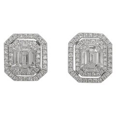 Kahn Illusion Emerald Shape 18 Karat Diamond Jacket Earring-Double Halo Effect