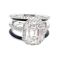 Kahn Illusion Emerald Shape 18 Karat White Diamond Jacket Ring, 2 Way