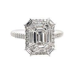 Kahn Illusion Emerald Shape 18k White Diamond Ring