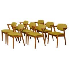 Kai Kristiansen, 8 Chairs, Oak Model 42, Produced by Schou Andersen Møbelfabrik