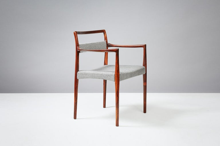 Kai Kristiansen  Exotic wood armchair, circa 1960  Produced by Oddense Maskinsnedkeri A/S. Exotic wood frame with upholstered seat and back in Kvadrat Hallingdal wool fabric.