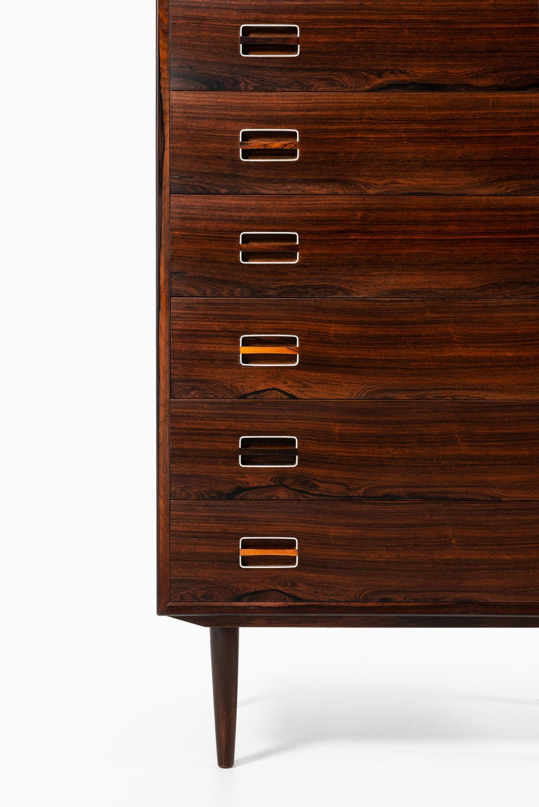 Rare bureau / chest of drawers attributed to Kai Kristiansen. Produced in Denmark.