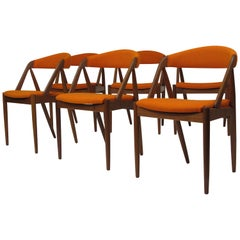 Kai Kristiansen Curved Back Dining Chairs in Orange Wool, Set of Six