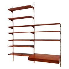 Kai Kristiansen Danish Midcentury Compact Floating Teak Shelving Set and Desk