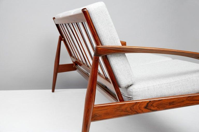 Wool Kai Kristiansen Danish Modern Rosewood Paper Knife Sofa, 1955 For Sale