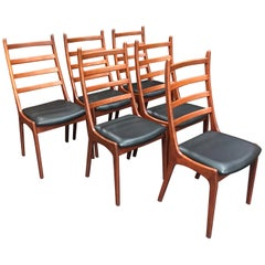 Kai Kristiansen Danish Teak Dining Chairs with Black Vinyl Seat Pads, Set of 6