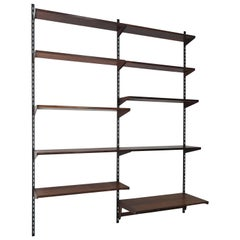Kai Kristiansen Dark Wood Scandinavian Shelves System for FM Møbler, 1960s