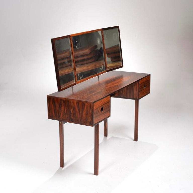 Danish Kai Kristiansen for Aksel Kjersgaard Rosewood Vanity with Folding Mirror