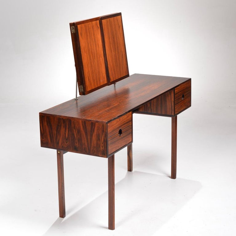 Mid-20th Century Kai Kristiansen for Aksel Kjersgaard Rosewood Vanity with Folding Mirror