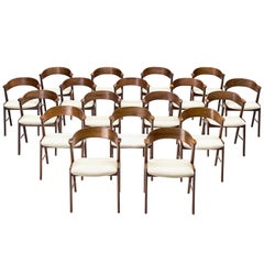 Kai Kristiansen Large Set of Rosewood Dining Chairs