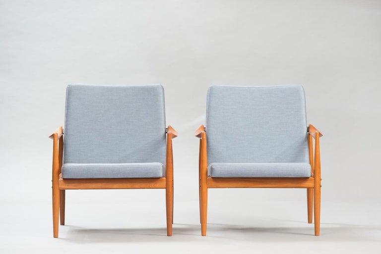Scandinavian Modern Kai Kristiansen Midcentury Teak Lounge Chairs for Fritz Hansen, Set of Two For Sale
