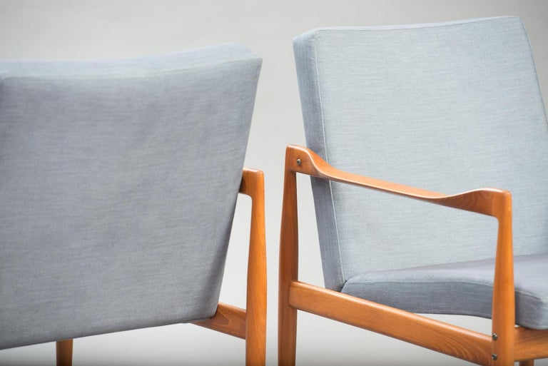 Danish Kai Kristiansen Midcentury Teak Lounge Chairs for Fritz Hansen, Set of Two For Sale
