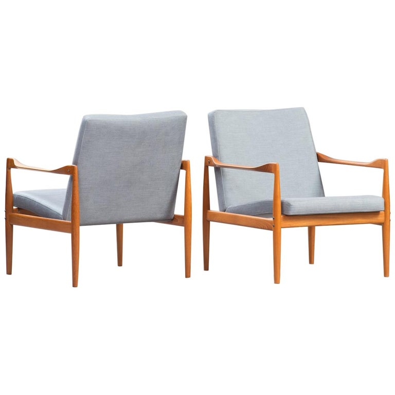 Kai Kristiansen Midcentury Teak Lounge Chairs for Fritz Hansen, Set of Two For Sale