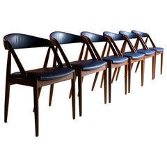 Kai Kristiansen Model 31 Dining Chairs Afromosia Teak Set of Six, Denmark, 1960s