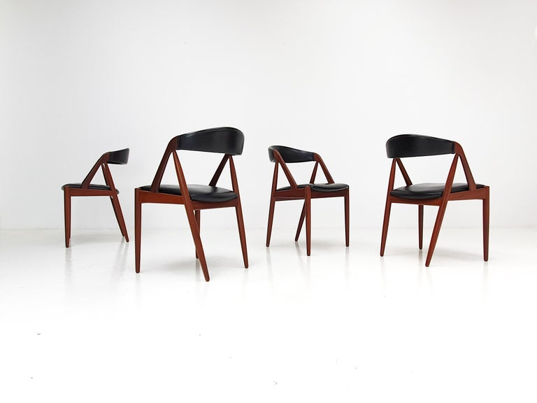 A set of four Kai Kristiansen model 31 teak 'A' frame dining chair for Schou Andersen, 1960s.