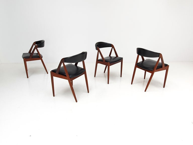 Mid-Century Modern Kai Kristiansen Model 31 Teak 'a' Frame Chairs for Schou Andersen, 1960s For Sale