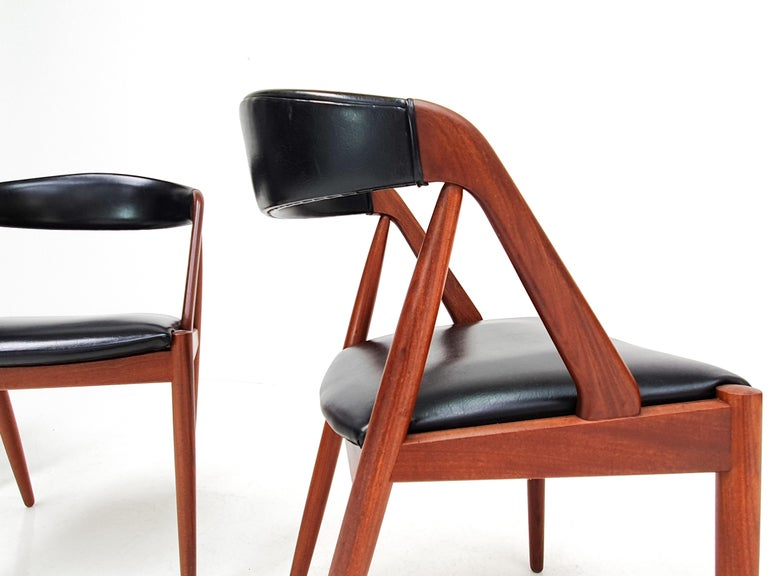 Faux Leather Kai Kristiansen Model 31 Teak 'a' Frame Chairs for Schou Andersen, 1960s For Sale