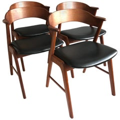 Kai Kristiansen Model 32 Dining Chairs, Teak and Leather, Set of 4