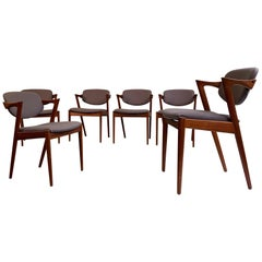 Kai Kristiansen Model 42 Teak Dining Chairs, Set of 6