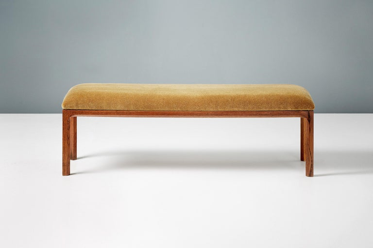 Model 391 bench from Kai Kristiansen for Aksel Kjersgaard, Denmark. Produced circa 1960, this beautifully patinated oak bench has been reupholstered with a new foam top and covered in Pierre Frey mustard mohair velvet.    *Alterantive upholstery