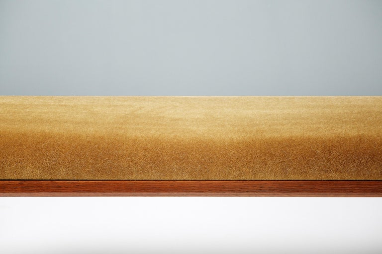 Scandinavian Modern Kai Kristiansen Oak and Velvet Bench, circa 1960 For Sale