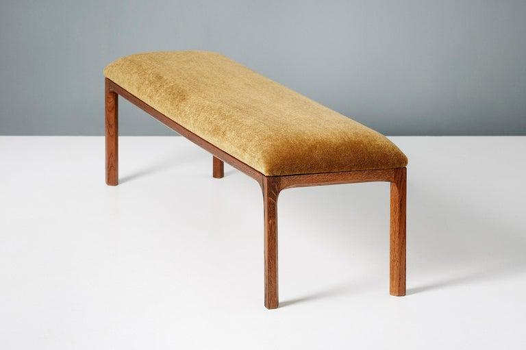 Danish Kai Kristiansen Oak and Velvet Bench, circa 1960 For Sale