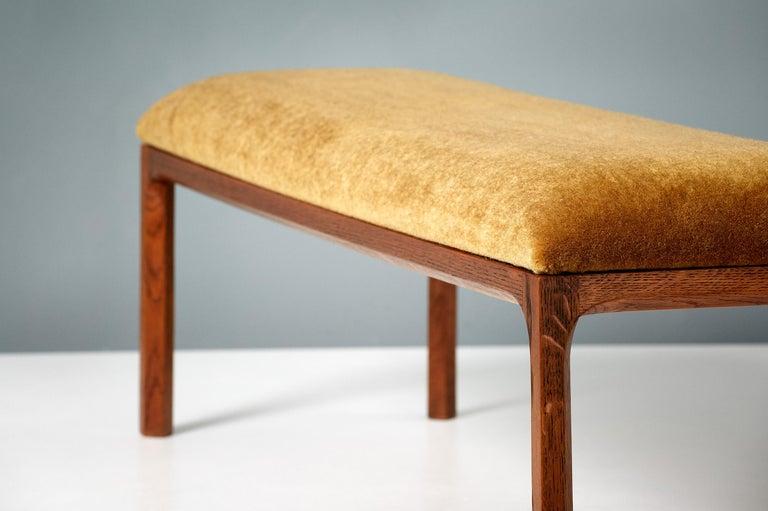 Mid-20th Century Kai Kristiansen Oak and Velvet Bench, circa 1960 For Sale
