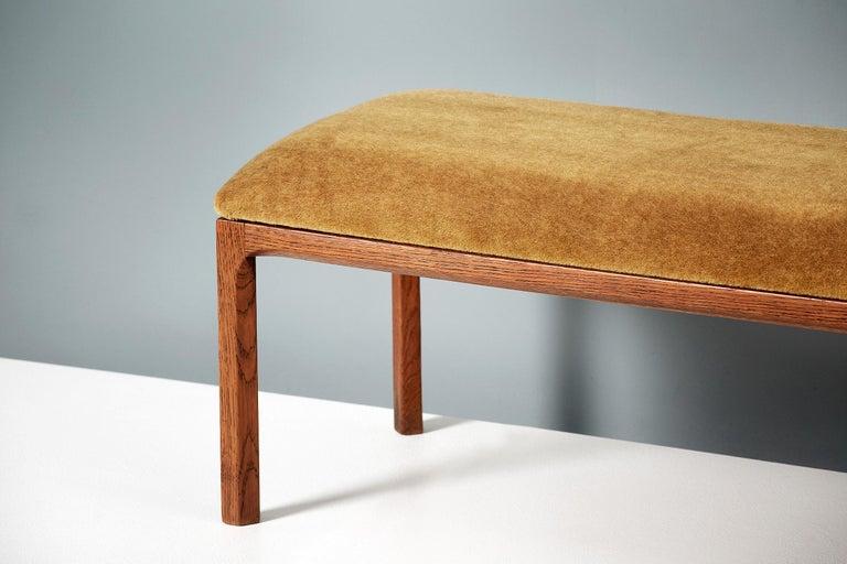 Mohair Kai Kristiansen Oak and Velvet Bench, circa 1960 For Sale