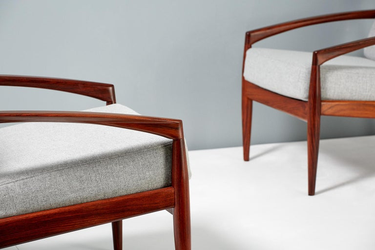 Wool Kai Kristiansen Pair of Rosewood Paper Knife Lounge Chairs, 1950s For Sale