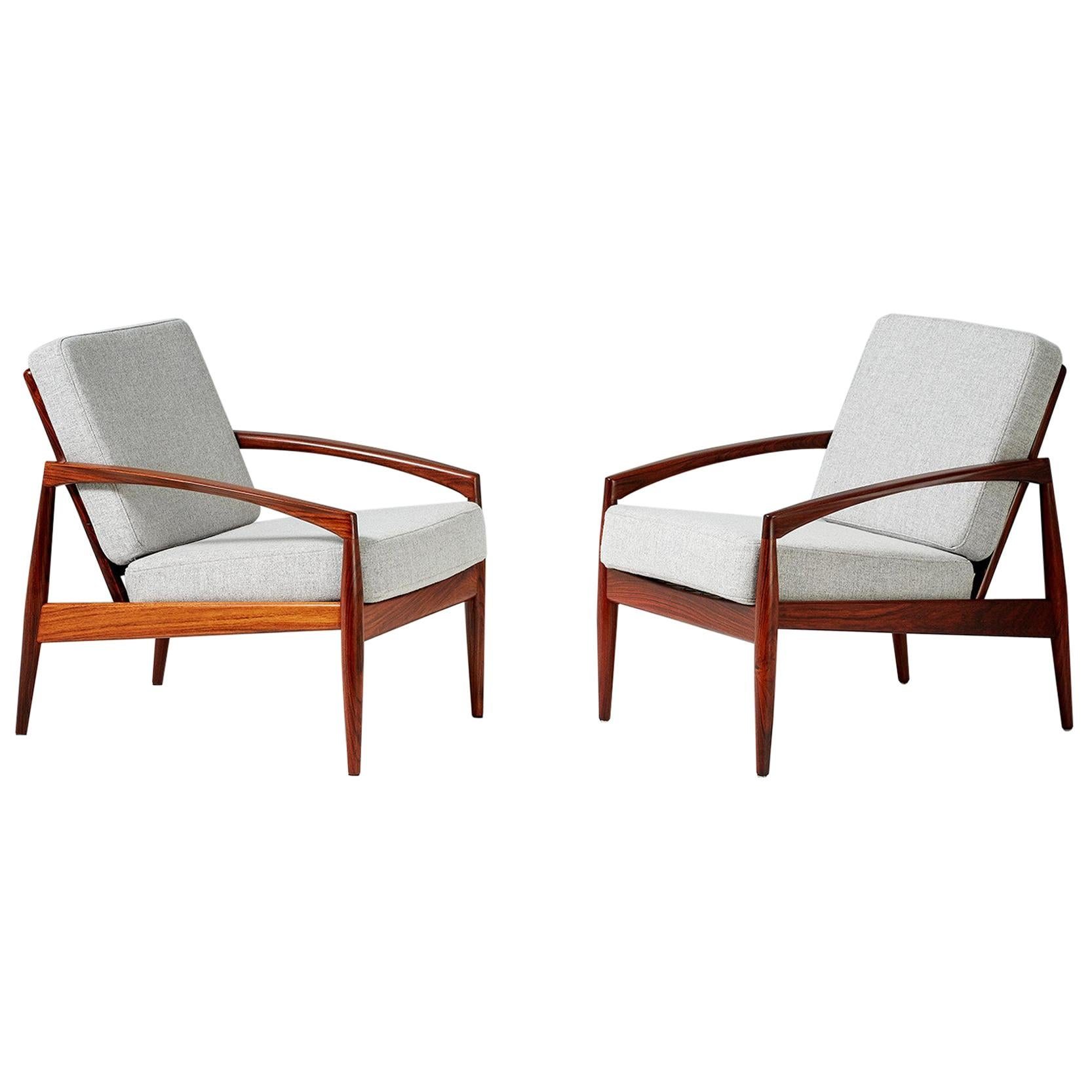 Kai Kristiansen Pair of Rosewood Paper Knife Lounge Chairs, 1950s