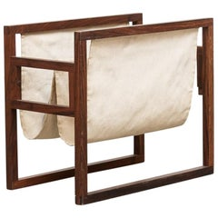 Kai Kristiansen Rosewood and Canvas Magazine Rack