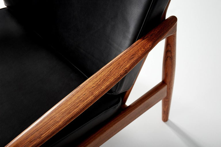 Scandinavian Modern Kai Kristiansen Rosewood and Leather Paper Knife Lounge Chair For Sale