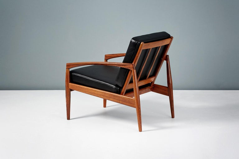 Danish Kai Kristiansen Rosewood and Leather Paper Knife Lounge Chair For Sale