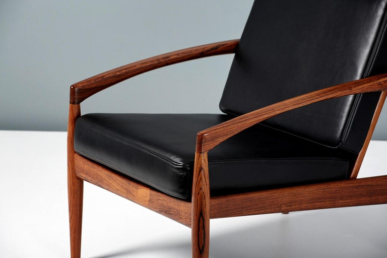 Kai Kristiansen Rosewood and Leather Paper Knife Lounge Chair In Excellent Condition For Sale In London, GB